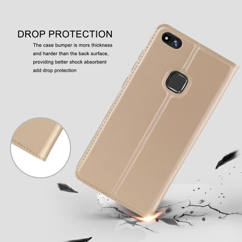 2317101855a Product image. P10 Lite - kuldne pu nahk / tpu kaardihoidjaga / koos  hoidjaga ümbris